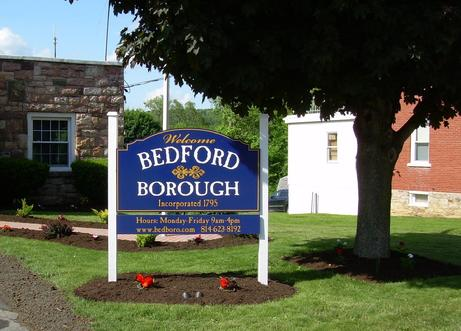 Welcome Sign Bedford Boro Office